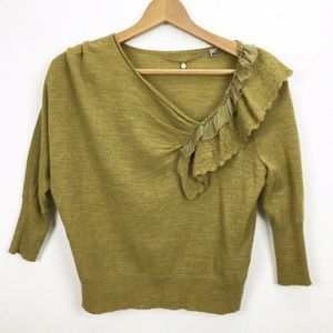 Anthropologie Green Ruffle Wool Sweater 3/4 Sleeve